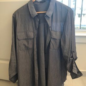 Button up grey striped blouse